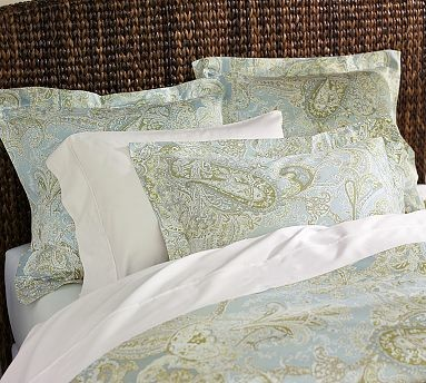 Sienna Paisley Duvet Cover Full Queen Porcelain Blue