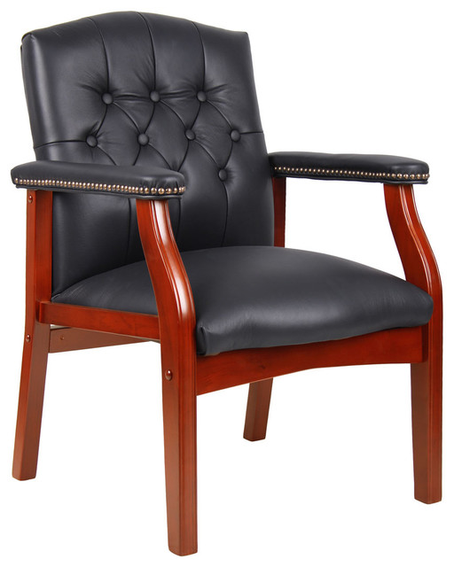 Traditional Black Leather Guest Chair With Cherry Finish Modern Office Ch