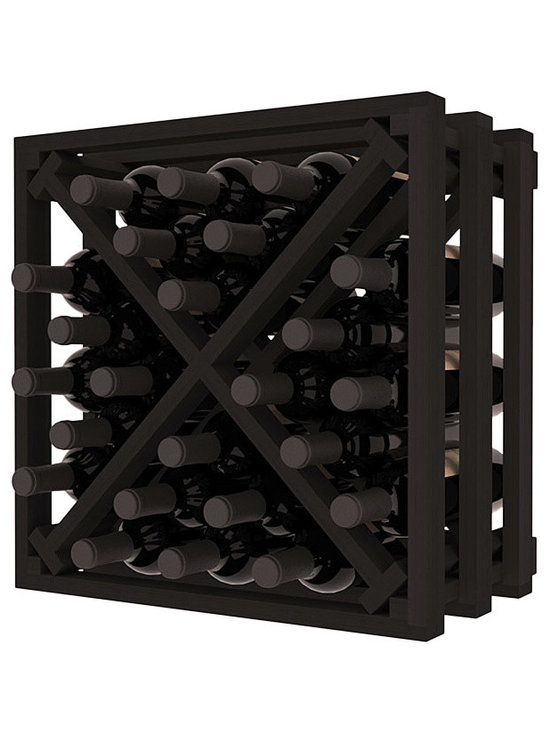 Lattice Stacking X Wine Cube in Redwood with Black Stain - Designed to stack one on top of the other for space-saving wine storage our stacking cubes are ideal for an expanding collection. Use as a stand alone rack in your kitchen or living space or pair with the 16-Bottle Cubicle Wine Rack and/or the Stemware Rack Cube for flexible storage.