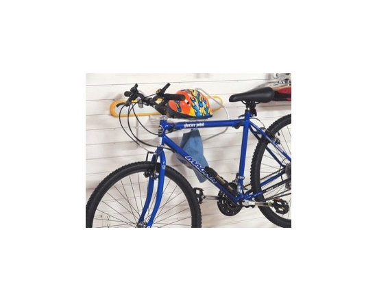 GarageTek Horizontal Bike Rack - The GT2005 Horizontal Bike Rack is an all-in-one storage centre for your bike and biking accessories. This rack has two large, adjustable hanger hooks to hold a bike along with a shelf and six hooks to hold items such as helmets, water bottles, gloves, locks etc.