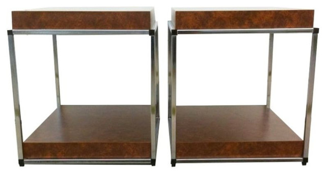 Vintage Chrome & Faux Leather Side Tables - $750 Est. Retail - $325 on Chairish. midcentury-side-tables-and-end-tables
