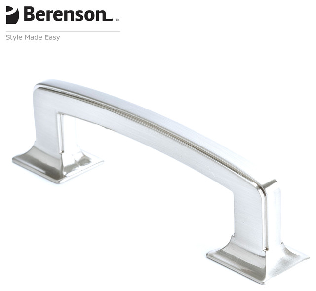 4070-1BPN-P Traditional Style Brushed Nickel Decorative Cabinet Pull by Berenson traditional-cabinet-and-drawer-handle-pulls