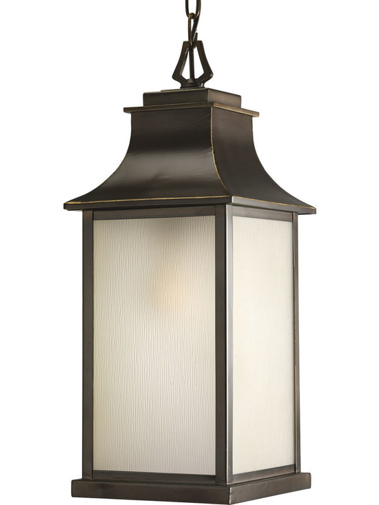 Progress Lighting - Progress Lighting P5554-108 Salute One-Light Hanging Lantern Oil Rubbed Bronze - 1-light medium hanging lantern with etched umber glass cage topped with a flowing curved hood.
