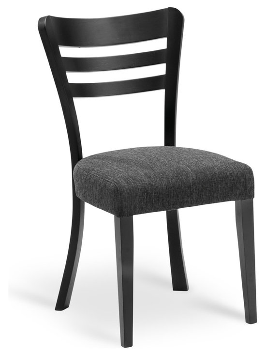 Bryght - Darby Liquorice Fabric Upholstered Ebony Dining Chair - The Darby dining chair with its beautifully splayed legs, an ergonomic back and a cushioned seat, perfectly compliments the modern contemporary home.