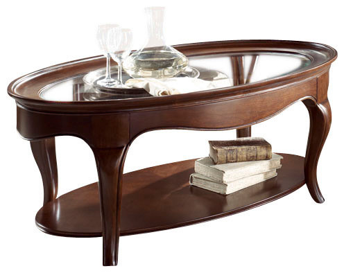 American Drew Cherry Grove Ng 2 Piece Glass Coffee Table Set In Brown Traditional Coffee