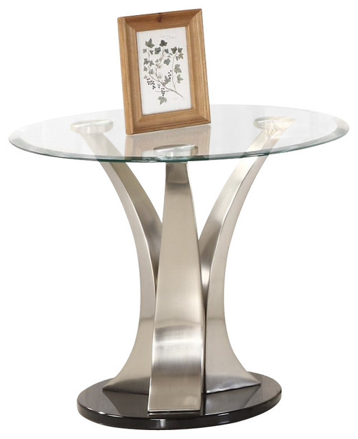 Homelegance Charlaine Glass Top Round End Table modern-side-tables-and-end-tables