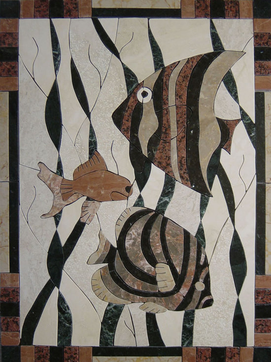 Fish handcrafted marble mural - size 26x35