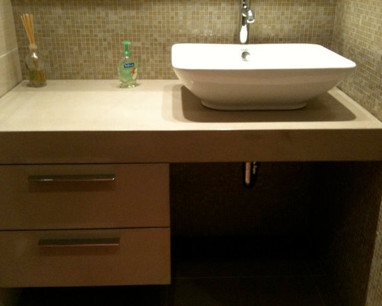 "Concrete Bathrooms - 3"" concrete vanity top with concrete drawer faces"