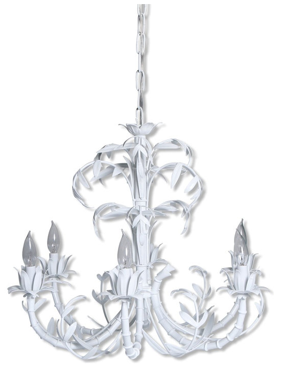 """White Faux Bamboo Leaves Chandelier - 20"""" h x 25"""" diam"""