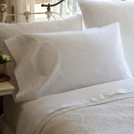 Tailored Pinefore White Eastern King Sheet Set - traditional