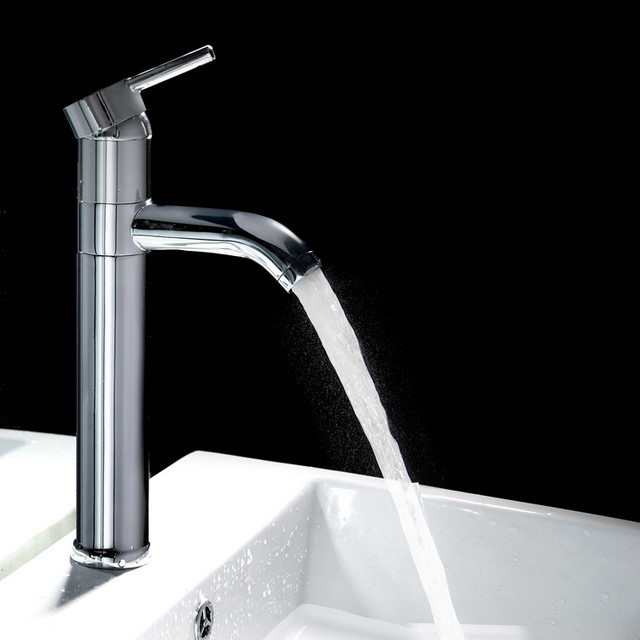 Single Faucet Bathroom : Single Handle Tall Bathroom Faucet contemporary-bathroom-faucets-and ...