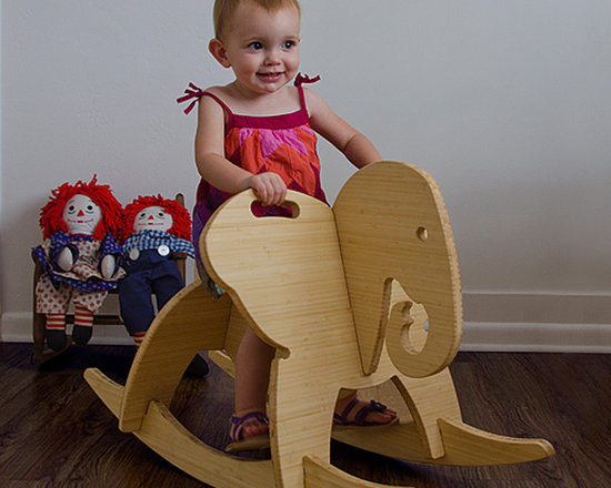 The Wee Rock Elephant - This modern interpretation of the classic rocking horse is made from beautiful bamboo plywood that is made with a soy based resin and finished with a food-safe butcher block conditioner.  It's 6 parts assemble in under 5 minutes and do so with no tools or any metal hardware (no small parts ever).