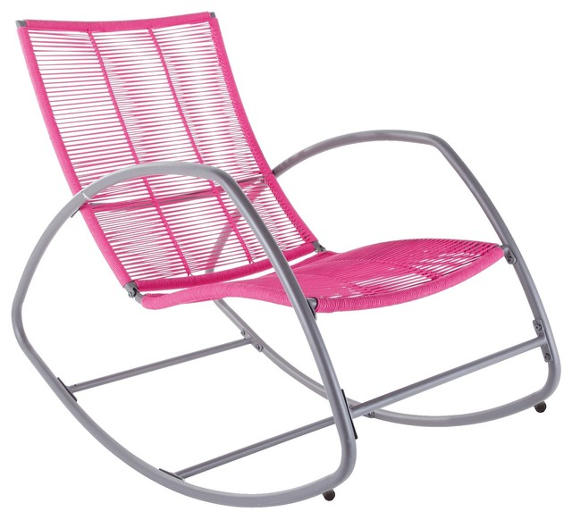 Moretta Metal Pink Rocking Chair Contemporary Outdoor Rocking Chairs ot