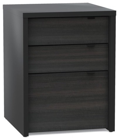 Sereni-T Three Drawer File Cabinet in Black/Ebony - Modern - Filing Cabinets