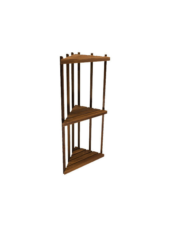"""TEAKWORKS4U - Teakworks4u Teak Corner Shower Shelf, 16""""L x 12""""D x 36""""H, Burmese Teak - Teakworks4u Teak Corner Shower Shelf stands 36 inches high and is made of marine grade stainless steel hardware. It can be used in the shower, on the patio or anywhere else where corner shelf is needed. It is ready to assemble."""