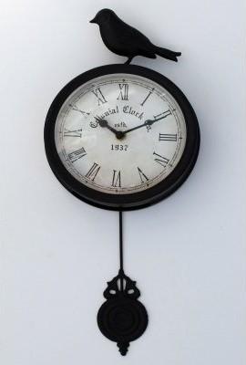 Rustic style makes the Ashton Sutton Arbour Bird Wall Clock with Pendulum - 16 i modern-clocks