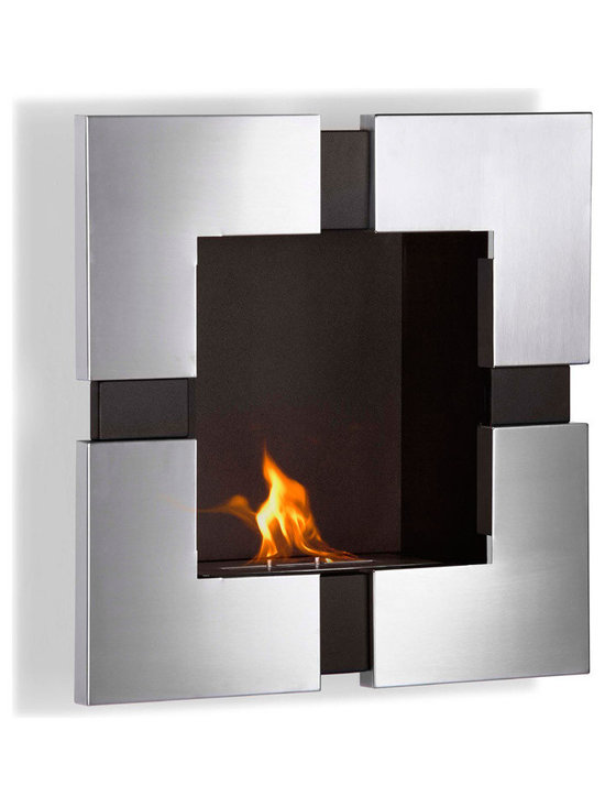 Moda Flame - Elm Wall Mounted Ethanol Fireplace - The contemporary steel design of the Elm wall mounted ethanol fireplace will create a dramatic statement in any room. When mounted, it sparks interest and curiosity and acts as a lively portrait.