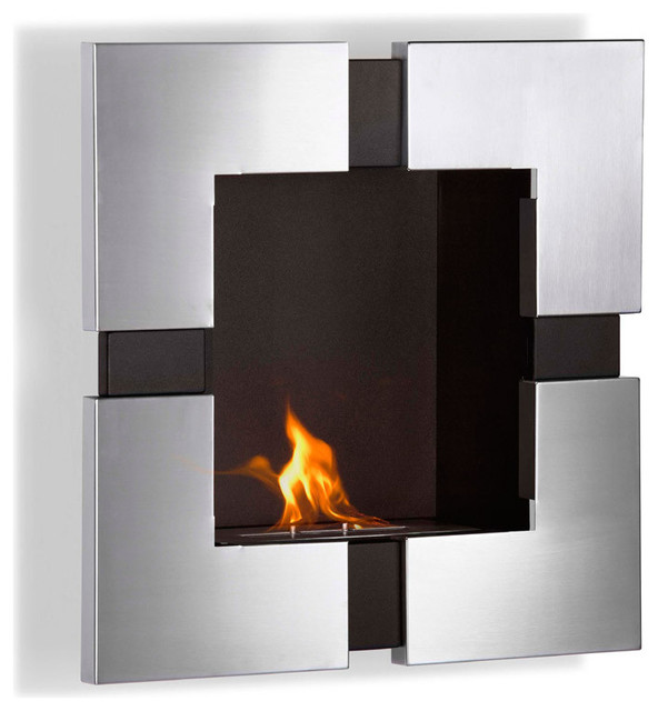 Elm wall mounted ethanol fireplace modern indoor fireplaces other metro by puremodern - Contemporary wall mount fireplace ...