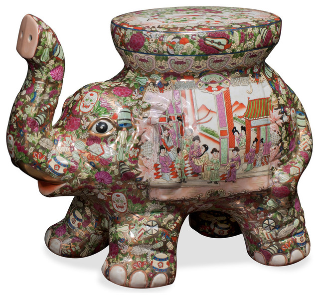 Hand painted porcelain elephant seat asian furniture for Hand painted oriental furniture