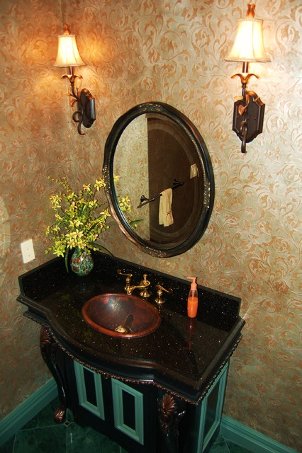 Traditional 'Powder Room' w/ Venetian Plaster Walls' traditional-powder-room