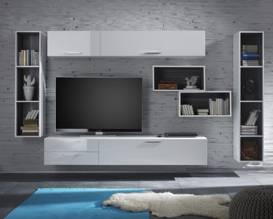 Modern Wall Unit TV Media Entertainment Center Club Composition 12 - $2,644.00 - Wall Unit Club Composition 12 by LC Mobili. The Club line offers a wide range of components that allows you to meet any requirement in the furnishing of your living room. All units are available in superior and modern White High Gloss Lacquer finish except the Wall Mounted Desks (Comes in Gray only) and bookcases interior (Comes in Gray only) to create a pleasant contrast. Please contact our office about details on customization of this wall unit.