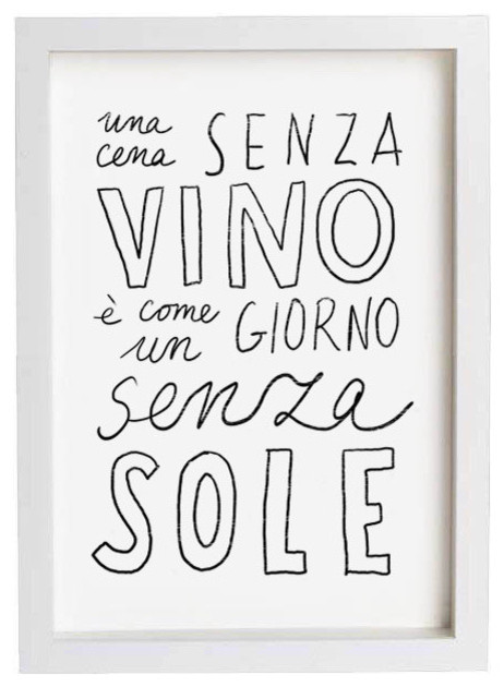 Typography Print Vino, High Quality Fine Art Print by Anek contemporary artwork