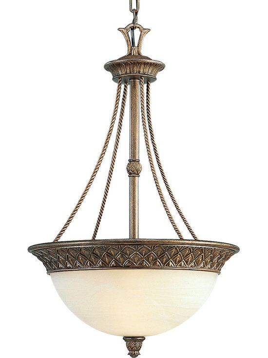 Progress Lighting P3542 Savannah Three-Light Bowl Pendant with Pineapple Accents - The symbol of hospitality is highlighted in this casually exotic collection, and the Savannah pendant is welcoming in any setting. From the foyer to the living room, this fixture is at home wherever you take it.