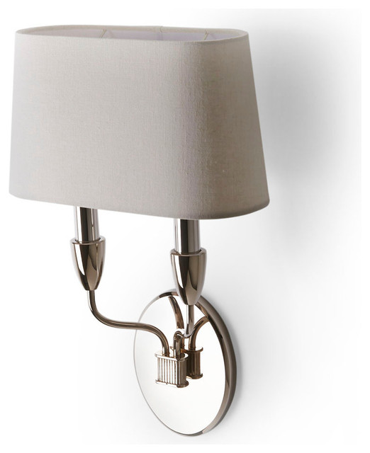 Wall Sconces Double : Waterworks Dunhill Wall Mounted Double Arm Sconce with Fabric Shade - Traditional - Wall Sconces ...