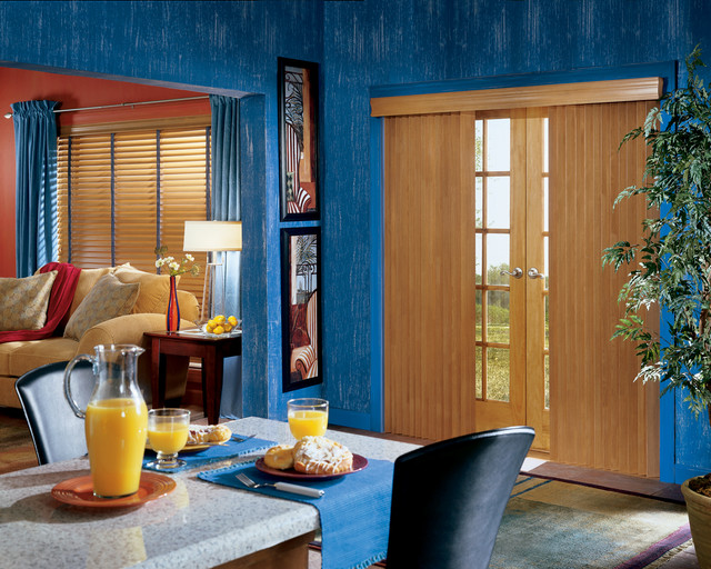 Crosswinds® Wood Vertical Blinds with Chain Tassel & Cord Tensioner eclectic-vertical-blinds