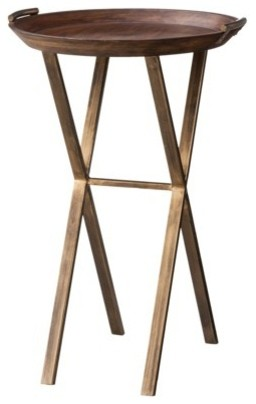 Threshold Wood and Brass Finish X-Base Accent Table contemporary-side-tables-and-end-tables
