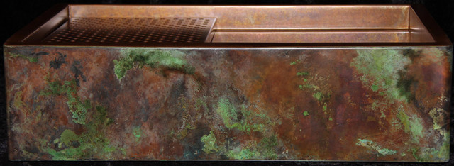 Rustic patina on copper farm sinks by rachiele signature for Rachiele sink complaints