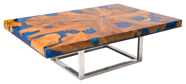 Blue Cracked Resin Coffee Table Modern Coffee Tables