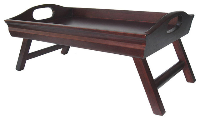 Winsome Wood Sedona Bed Tray Curved Side Foldable Legs Large Handle Contemporary Tv