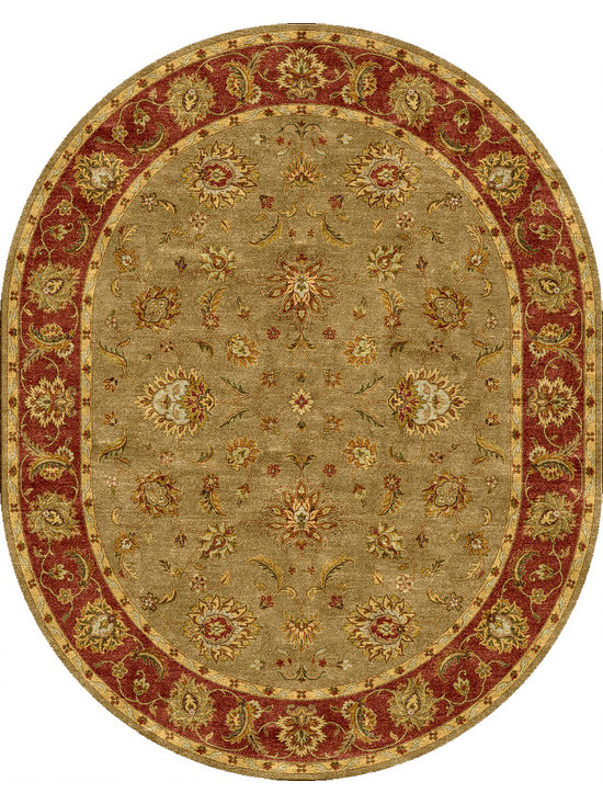Jaipur Rugs - Traditional Oriental Pattern Green Wool Tufted Rug - MY05, 8x10 Oval - Sublime hues and graceful lines accentuate the traditional pattern motifs in Mythos, an elegant and value-driven range of durable, hand-tufted area rugs. This sophisticated collection is for the discriminating consumer with a passion for traditional design, at prices that answer every budget. The Mythos Collection is tradition, redefined.