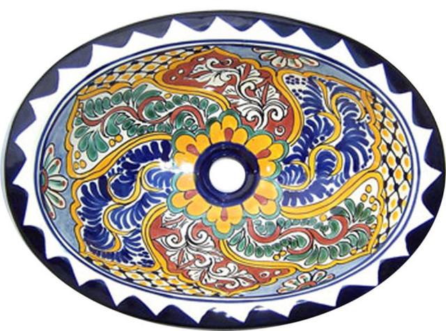 ... Talavera Hand Painted Mexican Sink, Small mediterranean-bathroom-sinks