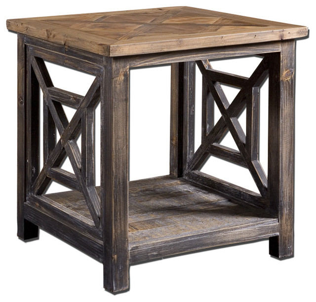 Rustic Reclaimed Wood End Table Spiro Style Rustic