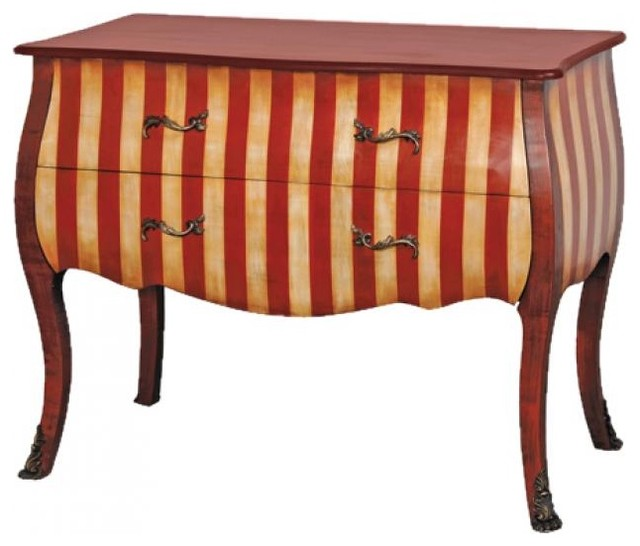 Striped Red French Chest of Drawers traditional dressers chests and bedroom armoires