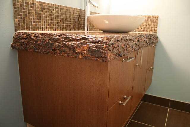 Custom wood top vanity contemporary bathroom vanities and sink