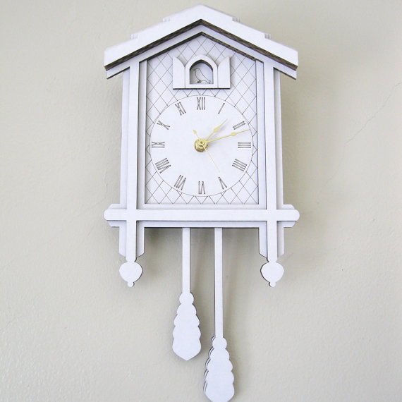 white cuckoo clock modern laser cut cardboard wall decor