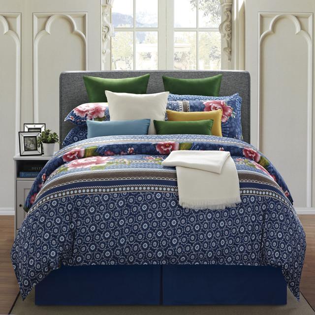 everrouge royal blue floral 8 piece cal king cotton comforter set contemporary quilts and. Black Bedroom Furniture Sets. Home Design Ideas