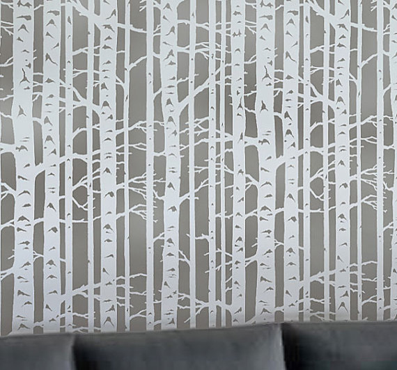 Wall Stencil Birch Forest By Cutting Edge Stencils contemporary stencils