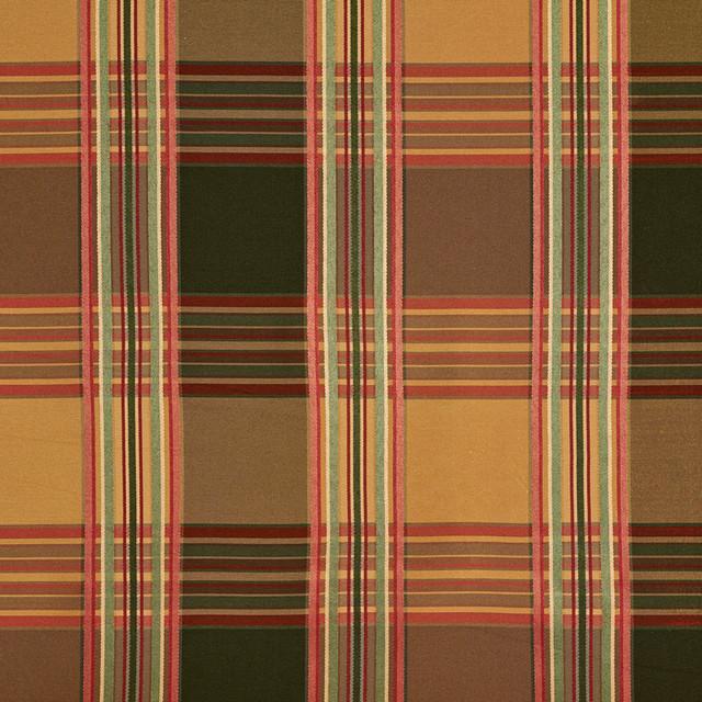 Green Gold Burgundy Shiny Striped Plaid Faux Silk