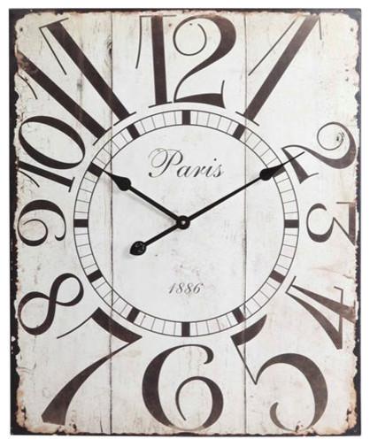 Distressed Off White Redding Clock traditional-clocks