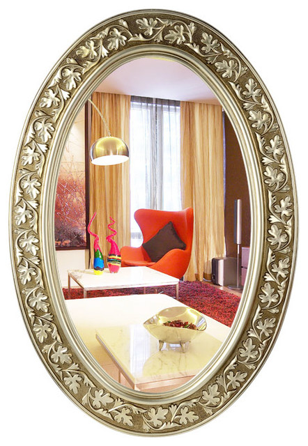 Oval Bathroom Mirrors With Carved Flower traditional-bathroom-mirrors