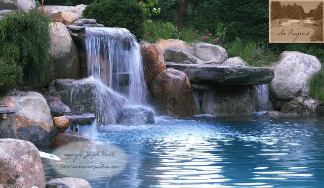 Nj swimming pool waterfall dive rock traditional pool newark by summerset gardens joe - Swimming pools with waterfalls ...