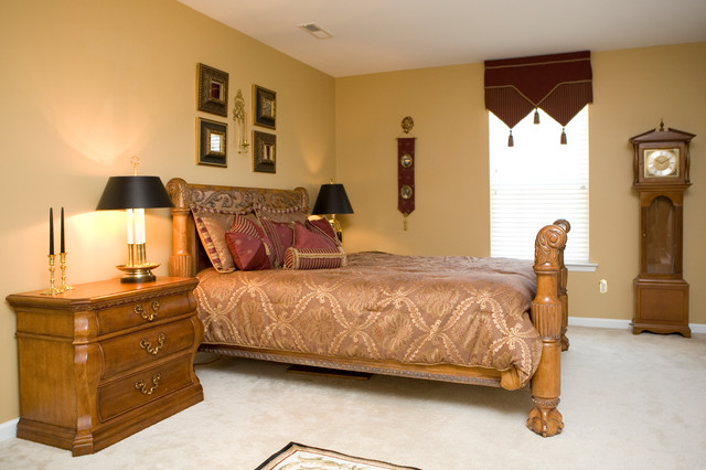 Distictive Burgundy Bedroom Traditional