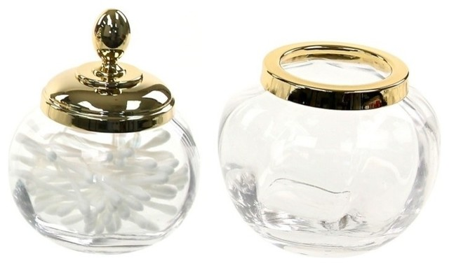 Gold 2 piece accessory set of clear glass contemporary for Clear bathroom accessories