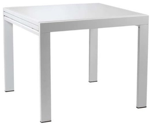 square dining table w white base white glass top modern dining