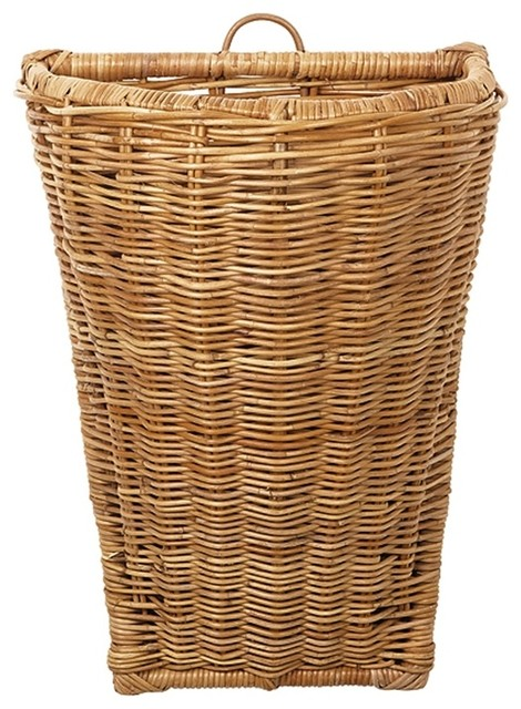 Large French Rattan Wall Basket in Natural traditional-baskets