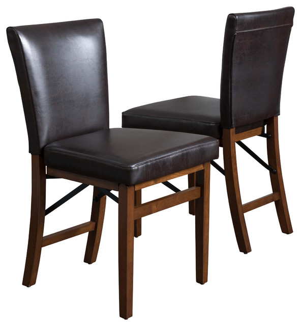 Rosalynn brown leather folding dining chairs set of 2 for Stackable dining room chairs
